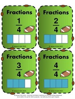 The SuperBowl might be over, but the football doesn't need to end. Fractions cards to PRINT & LAMINATE (American Football / Super Bowl / Superbowl style). A great resource. 52 Fraction flash cards. 1 fraction & image per card. 4 cards per A4 sheet. Suitable to print and laminate in color/ colour / or in black and white. We also have many other versions. decimals, decimal, fractions, fraction, number lines, year / grade 3 4 5.