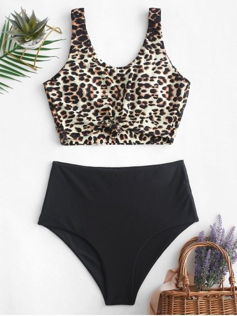 Leopard Knotted High Waisted Tankini Swimsuit
