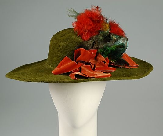 Green wool plush hat with orange velvet ribbon and feathers, by Sally Victor, American, 1933.