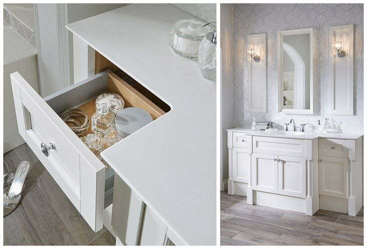 Deep storage drawer with soft close runners, finished in eton oak and aluminium#Roseberry #paintedtimber #bathroomfurniture #myutopia