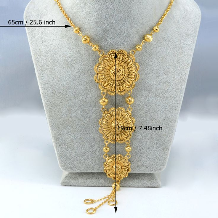 65 СМ Африка Ожерелье Женщины 18 К Золото Покрыло Ближневосточные Ожерелье Арабские Ювелирные Изделия Индийских/Египет/Нигерия/эфиопские Цепи #019A120