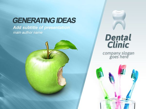 Free powerpoint template for dental clinic business. Healthy teeth it's a slogan of our presentation. Light style design, white and blue neutral colors make dental clinic powerpoint template readable for users. Bitten apple as a symbol of strong teeth, co…