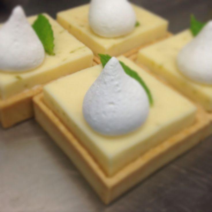 Lemon tart ! Lemon and lime curd,sweet base square tart,honey meringue
