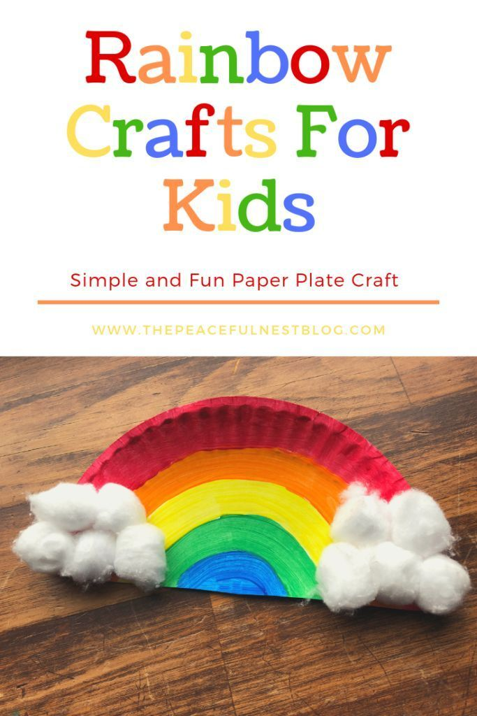 Colorful rainbow craft to make with your preschooler and toddler. Easy paper pla…