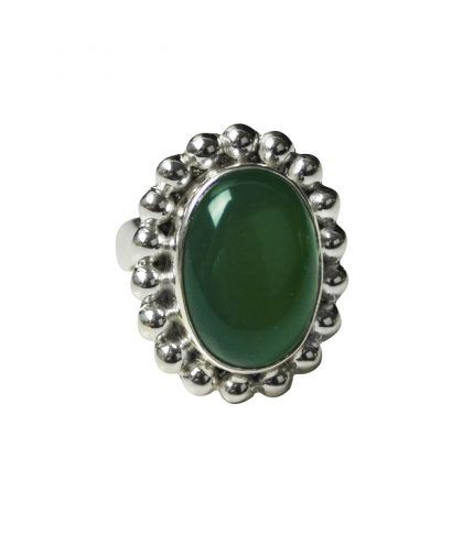 Melanie Woods Ring, open size band, green onyx set in sterling silver.  http://melaniewoods.com/product/green-onyx-mexicana-gemstone-ring/
