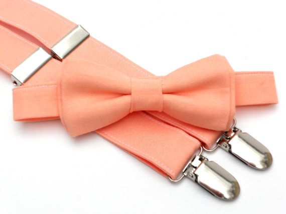 Toddler bow tie and suspenders, ring bearer outfit, peach wedding, boys wedding outfit, peach bow tie, peach suspenders, suspenders for boys