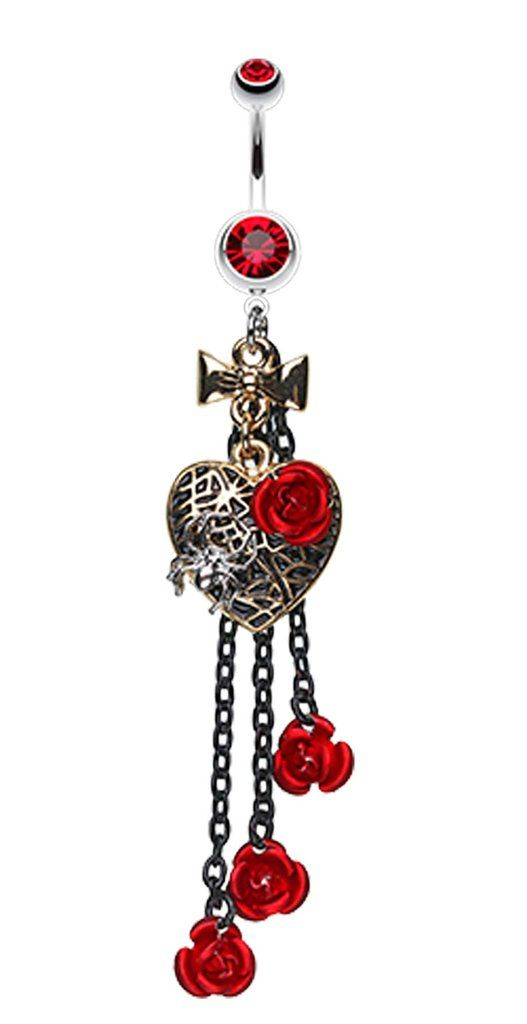 Gothic Chic Golden Colored Heart Metal Rose Belly Button Ring