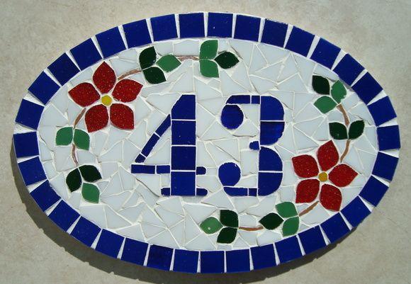 Numero residencial em mosaico, tamanho oval pequeno (30x20). Cliente pode…