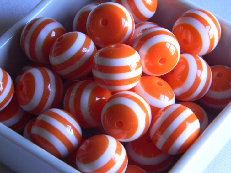 Orange & White Stripe 20mm Beads 10 Piece for Girls and Womens Bubble Jewelry Necklaces Bracelet Finding Nemo Birthday Girl Bubblegum Beads by HouseofHairDecor on Etsy