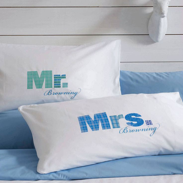 set of two 'mr' and 'mrs' pillowcases by twisted twee homewares | notonthehighstreet.com