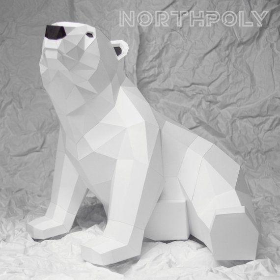 Baby Polar Bear Northpoly Pepakura Lowpoly Low Polygon Etsy Polar Bear Craft Baby Polar Bears Bear Sculptures
