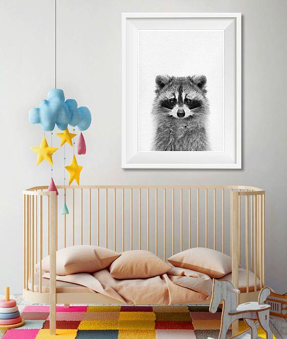 Wasbeer Wall Art kwekerij dier afdrukken afdrukbare kunst