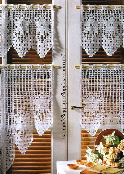 10 patrones de cortinas y cenefas crochet filet ~ Patrones para Crochet