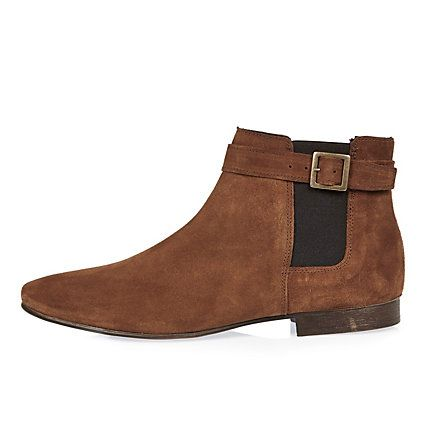 Medium brown buckle strap Chelsea boots £55.00