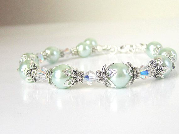 Mint Green Bridesmaid Jewellery Pearl by UrbanDaisyBridal on Etsy, £11.75
