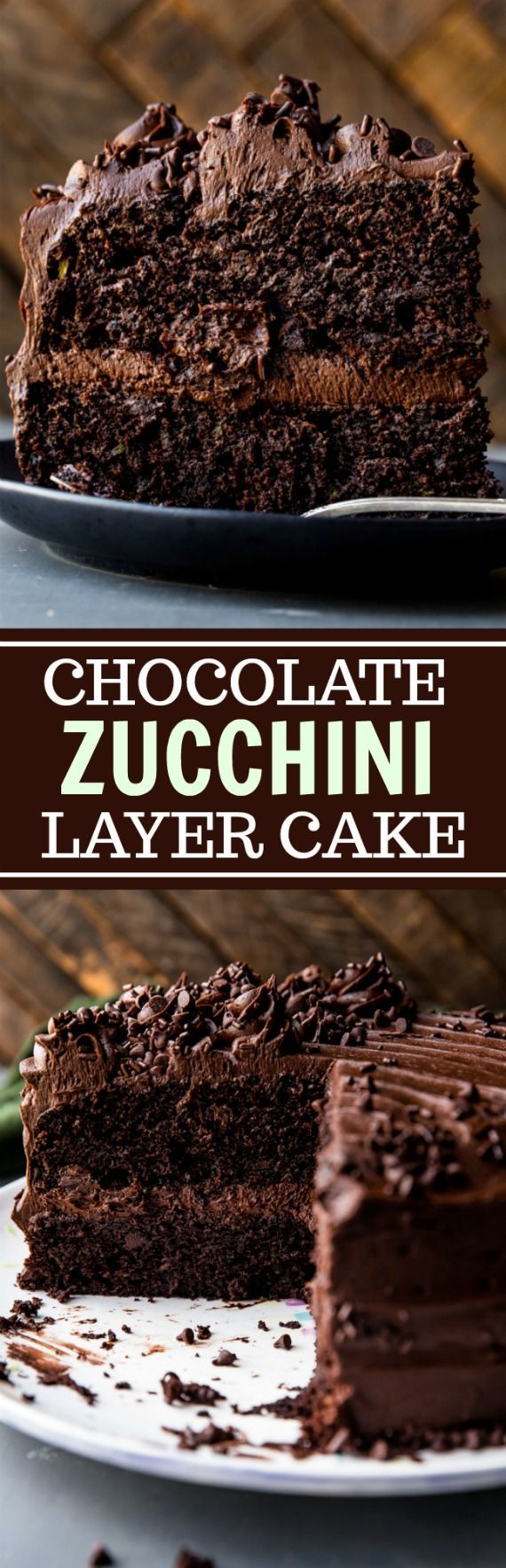 Super moist and rich chocolate zucchini cake! You can't taste the 3 cups of zucchini inside this double chocolate layer cake! Recipe on sallysbakingaddiction.com