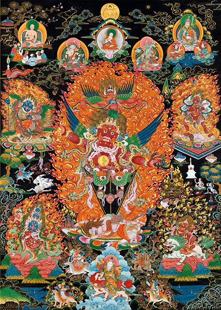 Guru Dragpur. Thangka painted according to Chogyal Namkhai Norbu's instruction. Guardians around are main protectors Nyingma tradition and Dzogchen.