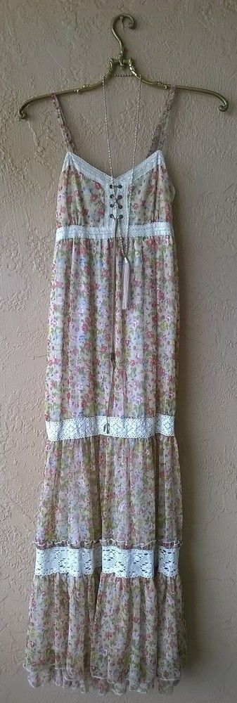 Image of Anthropologie Summer Festival Hippie girl maxi Dress with crochet and floral design
