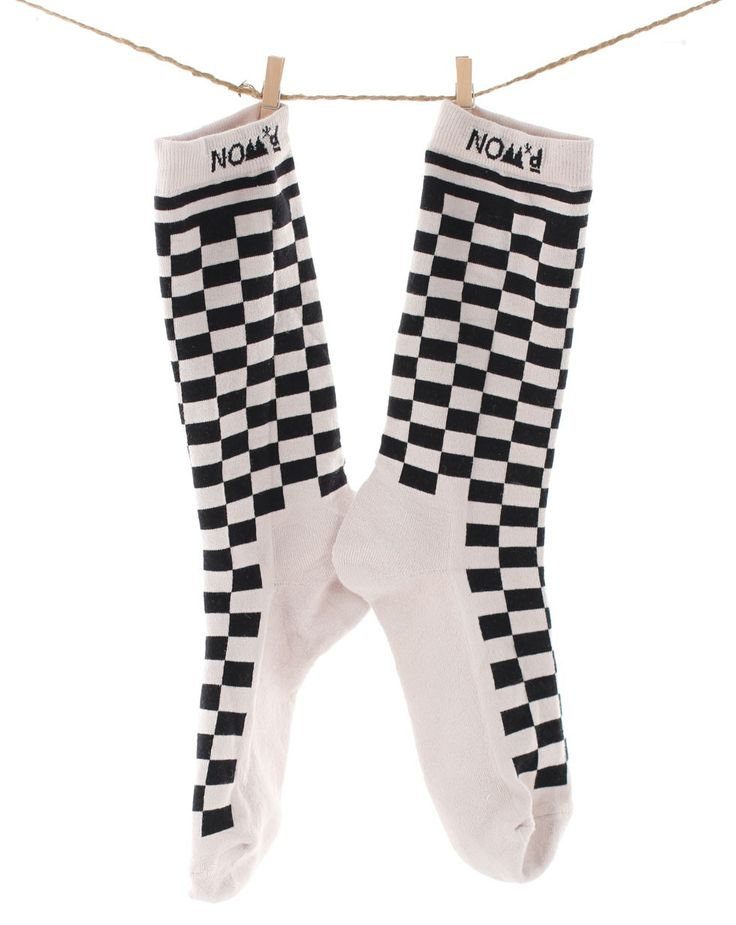 Checkerboard Socks in Light Grey and Black by Nom*D