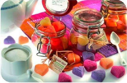 Bocal de sucres en morceaux : Plaisirs fruités