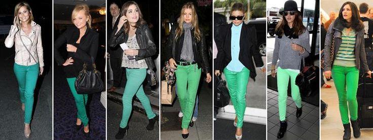 Сочетание цветов зеленые джинсы