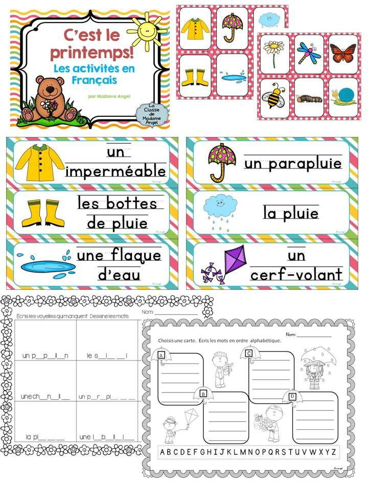 le printemps spring themed literacy activities in french activities french and words. Black Bedroom Furniture Sets. Home Design Ideas