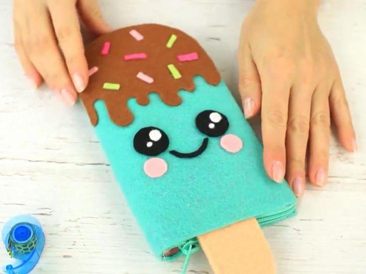 Пенал в виде мороженого своими руками #рукоделие #поделки #хендмейд #пеналы