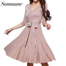 Samuume Осень Впп Твердые Вязание Хлопок Лук Пояса Wrap Платье Женщины 2016 Три Четверти Рукава Pleat Платье Vestidos B1608039(China (Mainland))