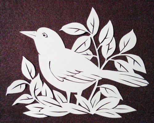cut paper design Alert Bird