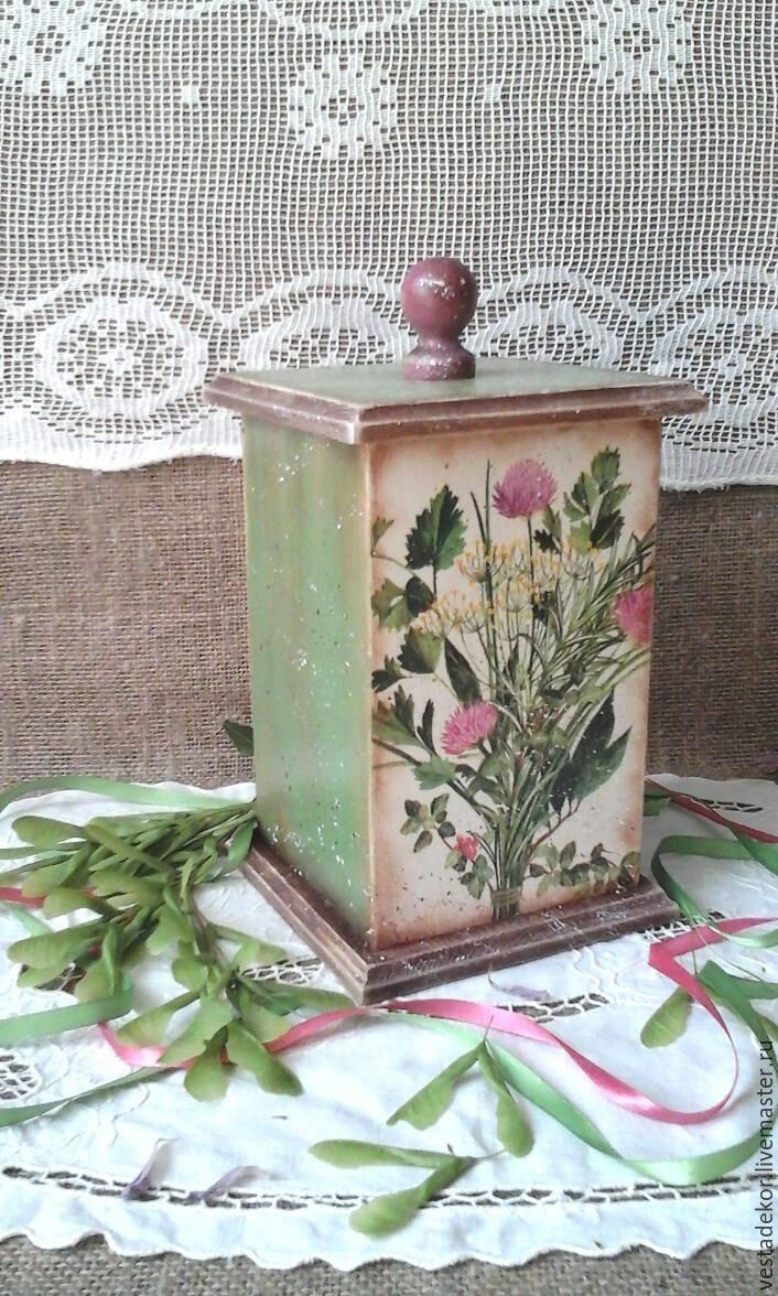 Купить Короб Розовый клевер в стиле кантри,для кухни и дачи - короб для хранения, короб для кухни