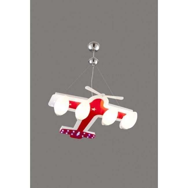 Avonni Kırmızı Pleksi Uçak Modelli Çocuk Odası Avizesi - AV-1555-PLANE-4