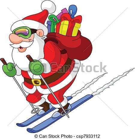 Vector - skien, kerstman - stock illustratie, royalty-vrije illustraties, stock clip art symbool, stock clipart pictogrammen, logo, line art, EPS beeld, beelden, grafiek, grafieken, tekening, tekeningen, vector afbeelding, artwork, EPS vector kunst