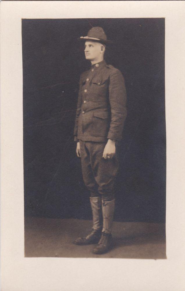 Real Photo Postcard WW1 Soldier Man Military Uniform RPPC Marked Ewing INC ARK