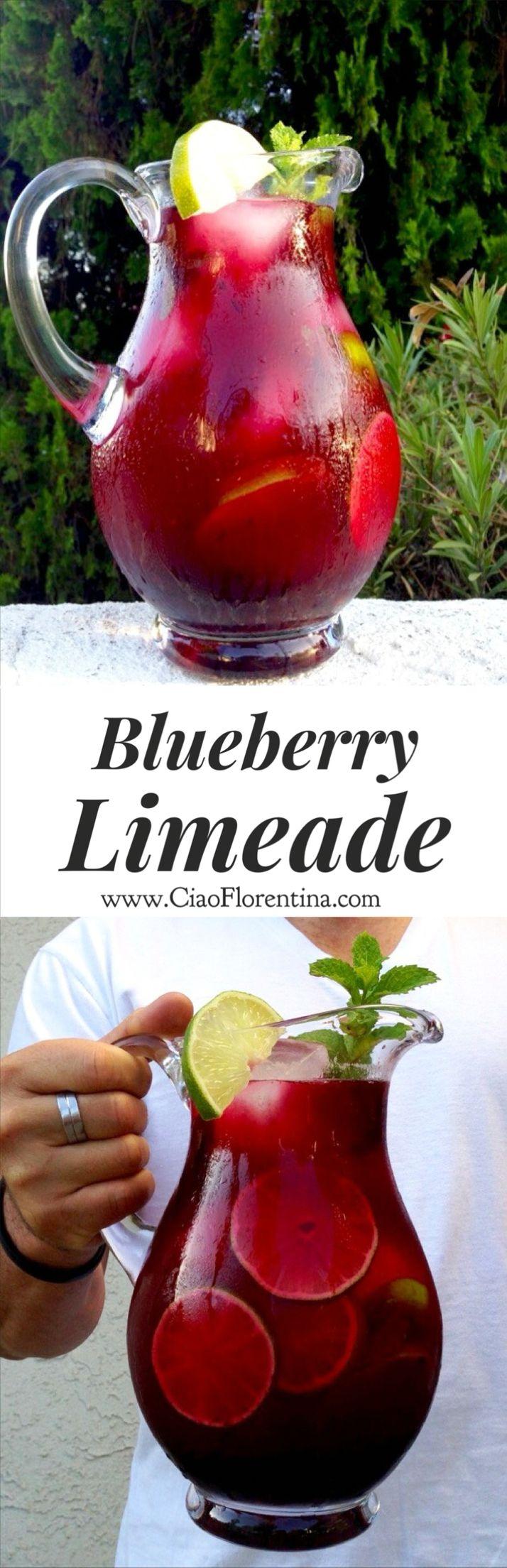 Blueberry Limeade made with wild honey and homemade blueberry purée | CiaoFlorentina.com @CiaoFlorentina