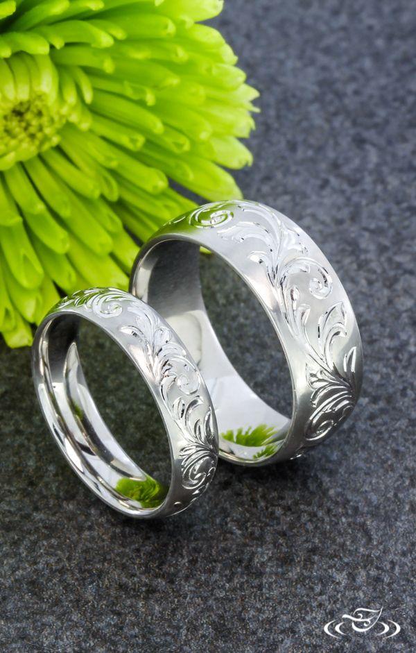 Scroll Hand Engraved Wedding Band Set. Green Lake Jewelry