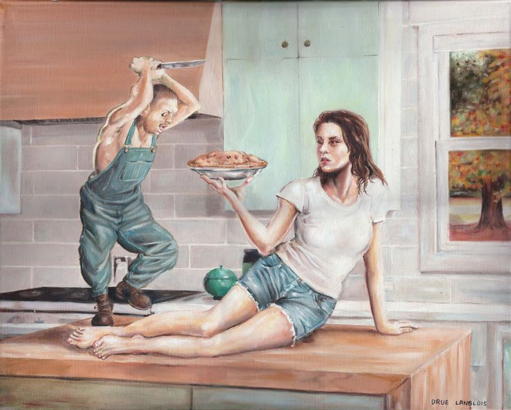 """""""Slicing the Pie"""" by Drue Langlois, oil paint on canvas"""