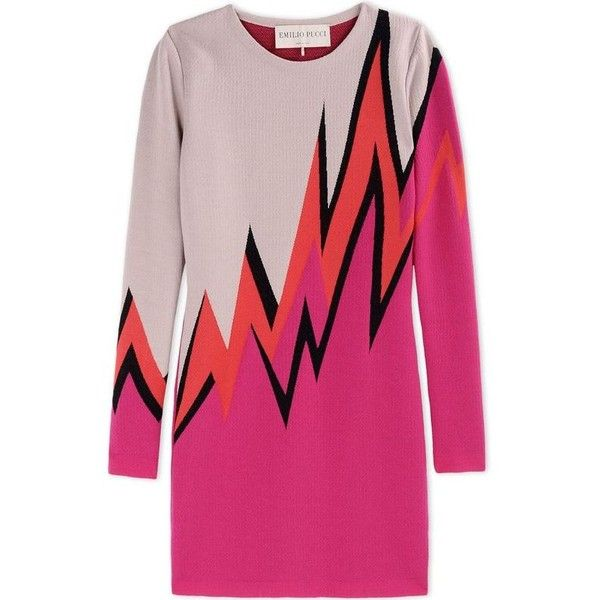 Emilio Pucci Pink Wool-Blend Color-Block Sweater Dress ($1,190) ❤ liked on Polyvore featuring dresses, pink, color block sweater dress, zig zag dress, multi colored dress, colorblock dress and color block dress
