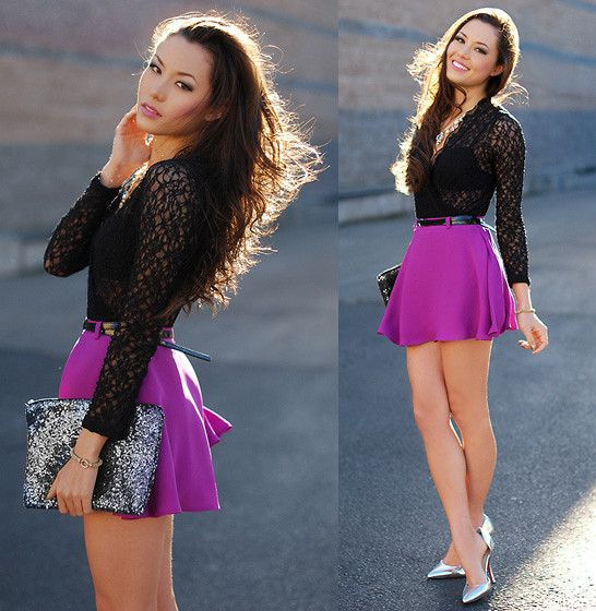 Shoe Dazzle Silver Heels, Mink Pink Fuchsia Circle Skirt, Forever 21 Black Lace Top