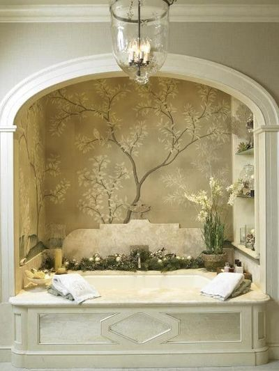 alcove bathtubs | Bath alcove w arch and wallpaper/mural, shelves, marble surround and ...