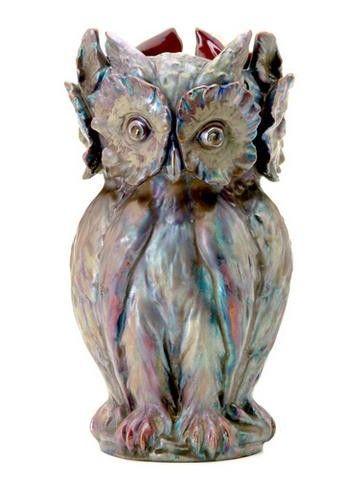 Zsolnay Vase Owls