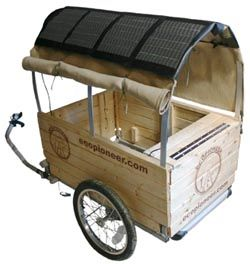 solar powered bike trailer can run a fridge to keep the wine cool I could see this working for the bike tours