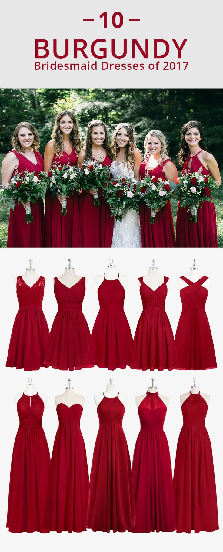 Dress your bridesmaids in the rich red! Shop from over 200 styles, available in sizes 0-30 and free custom sizing!