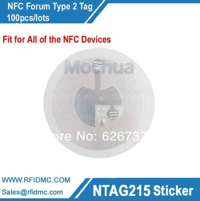 NFC tag NFC lable Ntag215, NFC Forum type2 tag,NFC sticker 100pcs