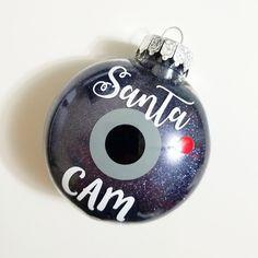 Santa Cam Ornament-Glitter Ornament-Christmas Ornament-Santa Camera-Plastic Ornament-Shatterproof Ornament-Holiday Gift-Santa Spy Camera