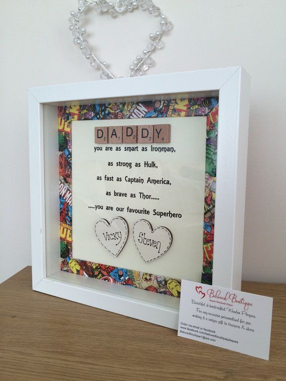 Gorgeous Fathers Day frame Your my superhero poem with superhero border up to 2 hearts is £20! Additional hearts £1 can fit upto 4 Please check my other items and page on Facebook BELOVEDBOUTIQUEPLAQUES