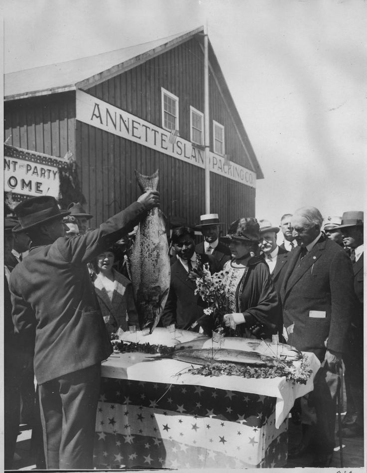 President and Mrs. Harding inspect the gigantic salmon, the finest of the season, which were presented to them by enthusiastic fishermen at Annette Island Packing Company in Metlakahtla, AK on July…