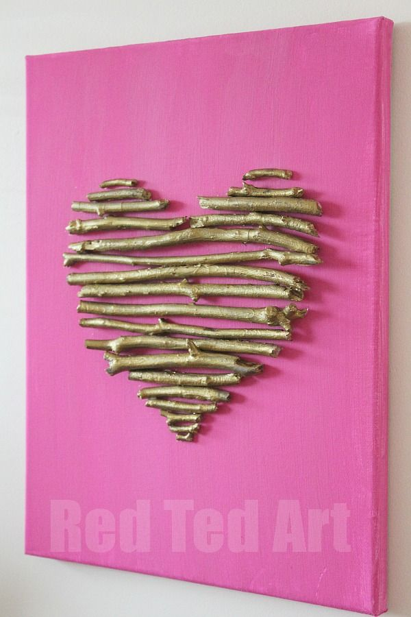 DIY Heart Canvas with Twigs. Great idea for valentine's day. #DIY #crafts @redtedart
