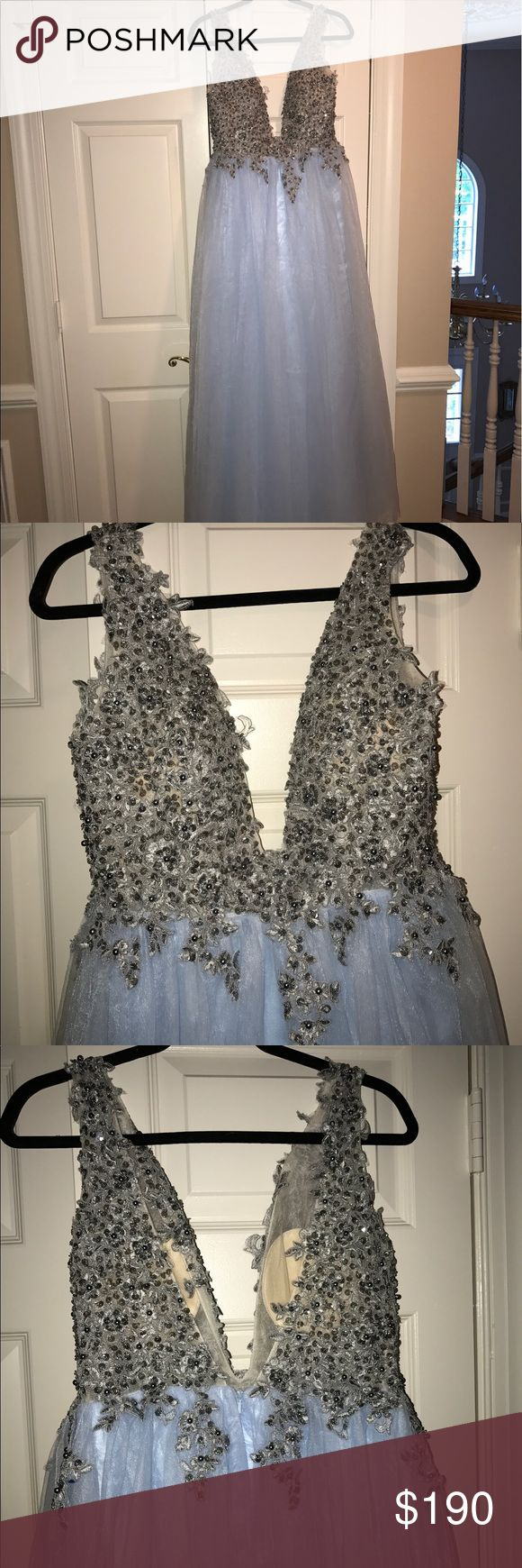 """PROM DRESS never worn! :) Another prom dress! Never worn in great condition, delicate beading and pretty sky blue color! Size 4 (I'm 5'7"""" and 135 lbs and it fits me perfectly, but I found another dress.) selling for a great price! Dresses Prom"""