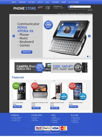 "Mobile Store OpenCart Theme Template is specially designed for Mobile devices. Garmonical colors combination of blue and black, white background of central content, blue footer. The best decoration for Mobile phones, Smartphones, Communicators, Cameraphones, Lifestyle Phones, Luxury Phones. Accordion Slogan ""Best decorate our store are our products"". It is very nice with its clean and professional look."