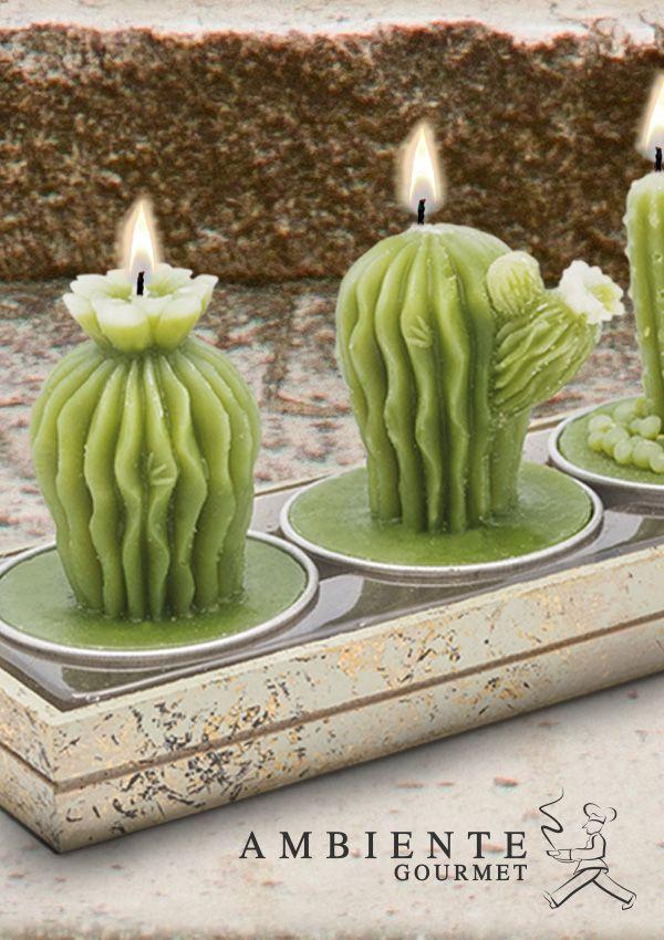 Llena tus espacios de luz, con estas divertidas velas en forma de cactus.
